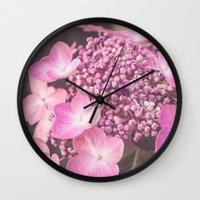 Botanical Pink Rose Purple Lace Cap Hydrangea Flower Wall Clock