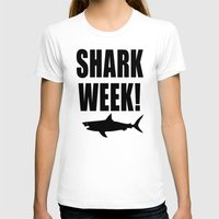 Shark week (on white) Womens Fitted Tee White SMALL