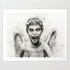 Weeping Angel Watercolor Art Print