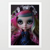 Sweet Death Shinigami (Ooak BLYTHE Doll) Art Print