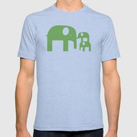 Green Elephants Mens Fitted Tee Athletic Blue SMALL