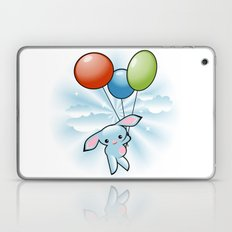 Cute Little Blue Bunny Flying With Balloons Laptop & iPad Skin