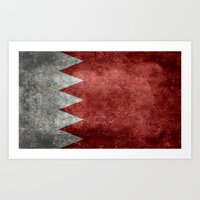 The flag of the Kingdom of Bahrain - Vintage version Art Print