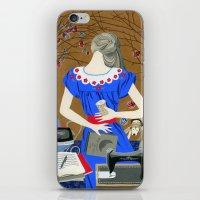 Lady in a blue dress iPhone & iPod Skin