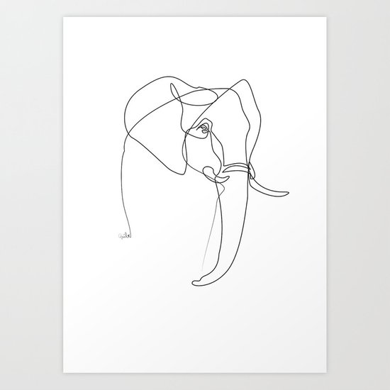 Art Line Quality : Elephant line art print by quibe society