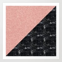Faux Rose Glitter and Marble Pattern Art Print
