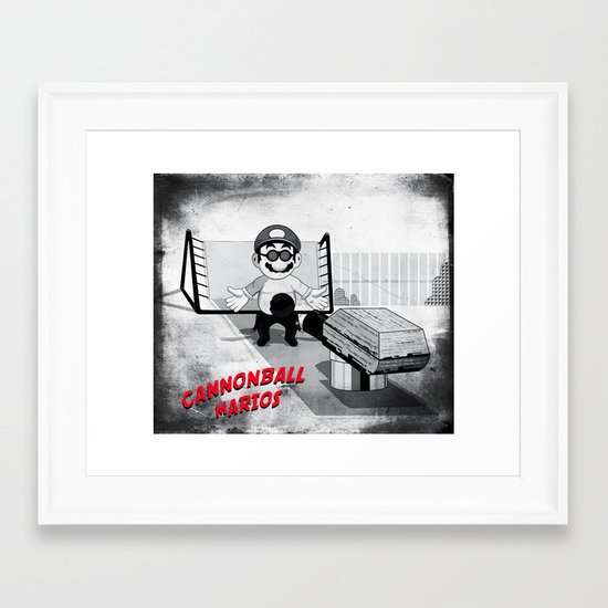 Cannonball Marios Framed Art Print