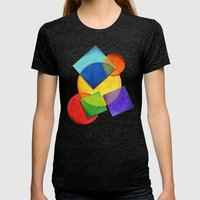 Candy Rainbow Geometric Womens Fitted Tee Tri-Black SMALL