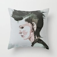 The Girl With The Dragon… Throw Pillow