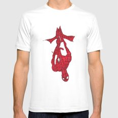 Hanging Out. Spiderman SMALL White Mens Fitted Tee