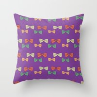 Hipster Bow Tie  Throw Pillow