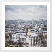 Snowy Paris Art Print