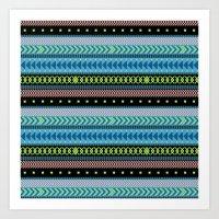 Together Again - tribal geometrics Art Print