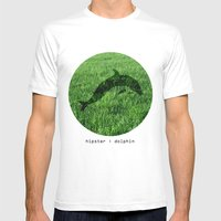Hipster Dolphin. Mens Fitted Tee White SMALL