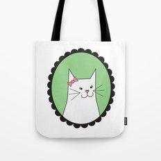 White Kitty Tote Bag