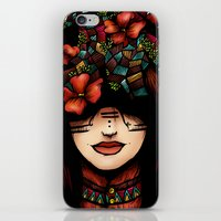 The girl who was thinking about geometry & red flowers iPhone & iPod Skin