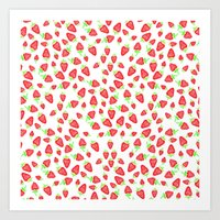 Summer bright red hand painted watercolor strawberries fruits pattern Art Print