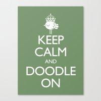 Keep Calm & Doodle On (Green) Canvas Print