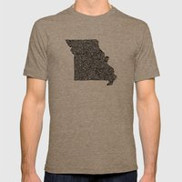 Typographic Missouri Mens Fitted Tee Tri-Coffee SMALL
