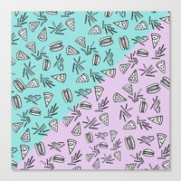 Burgers Pizza Fries in Pastel  Canvas Print