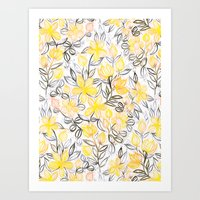 Sunny Yellow Crayon Striped Summer Floral Art Print