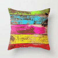 Vintage Colored Wood Throw Pillow