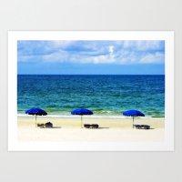 Beach Umbrella Trio Art Print