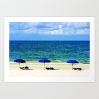 Beach Umbrella Trio Art Print