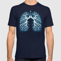 I Breathe Music Mens Fitted Tee Navy SMALL