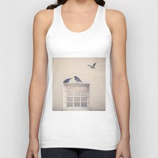 Let me be a bird in your window - vintage retro, beige cream, urban, black and white photography Unisex Tank Top