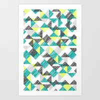 Scribble Triangles Art Print