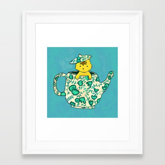 Dinnerware sets - Kitten in a teapot Framed Art Print