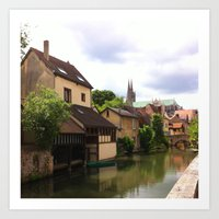 Chartres Canal, France Art Print
