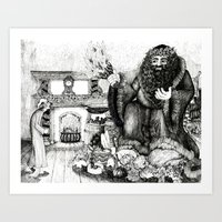 Scrooge And The Ghost Of… Art Print