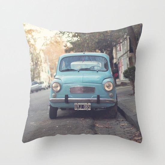 Mint - Blue Retro Fiat Car  Throw Pillow