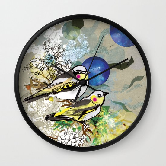 Yellow Birds Wall Clock