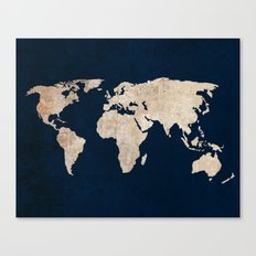 Inverted Rustic World Map Canvas Print