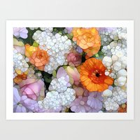 floral Art Prints featuring Joy is not in Things, it is in Us! by Joke Vermeer
