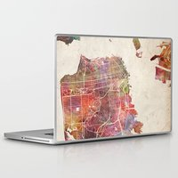san francisco Laptop & iPad Skins featuring San Francisco by MapMapMaps.Watercolors
