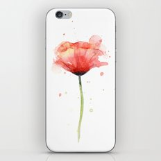 Red Poppy Watercolor | Floral Illustration iPhone & iPod Skin