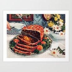 Roast with Mushrooms Art Print