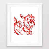 Octopus - Red and White Framed Art Print