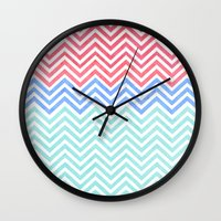 Chevron Blue And Red Vin… Wall Clock