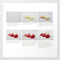 Watercolor Demo Cherries on a Cushion Art Print