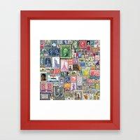 Stamps  |  Collage Framed Art Print