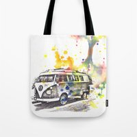 Classic Vw Volkswagen Bus Van Painting Tote Bag