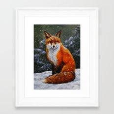 Cute Red Fox In Snow Framed Art Print