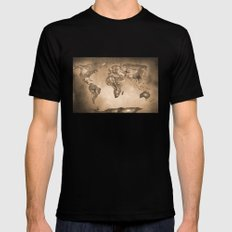 Stars world map. Sepia SMALL Black Mens Fitted Tee