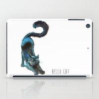 Black Blue Cat Stretching Drawing  iPad Case