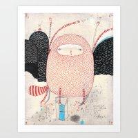 dance Art Prints featuring raccoon dance by Nayoun Kim